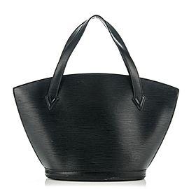 Louis Vuitton Noir Saint Jacques Zip Tote 232439 Black Leather Shoulder Bag