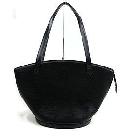 Louis Vuitton Saint Jacques Zip Tote 872732 Black Epi Leather Shoulder Bag