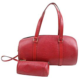 Louis Vuitton Soufflot Mini With 871472 Red Epi Leather Shoulder Bag
