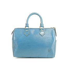 Louis Vuitton Speedy 25 17lk0102 Blue Epi Leather Satchel
