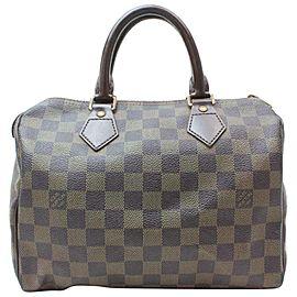 Louis Vuitton Speedy 25 870947 Brown Damier Ébène Canvas Satchel