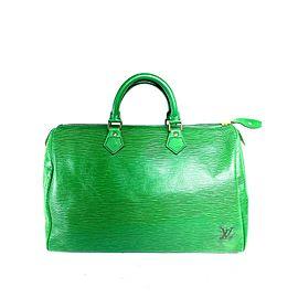 Louis Vuitton Speedy 35 Borneo Large 3lva717 Green Epi Leather Satchel