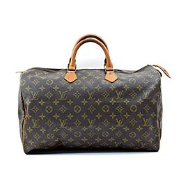 Louis Vuitton Speedy 872284 Monogram 40 Brown Coated Canvas Satchel