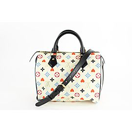 Louis Vuitton Poker Game On Multicolor White Speedy Bandouliere 25 Strap 3LVS129