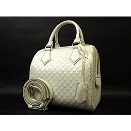 Louis Vuitton Speedy Damier Facette Pm 222152 White Patent Leather Cross Body Bag