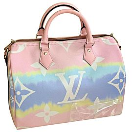 Louis Vuitton Speedy Escale Collection 30 Bandouliere In Pastel Tye Dye 870aus Pink Coated Canvas Satchel