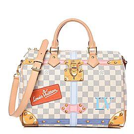Louis Vuitton Speedy Limited Rare Damier Azur Summer Trunks Bandouliere 30 8lk1127 White Coated Canvas Shoulder Bag