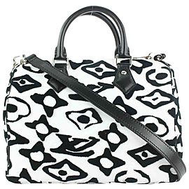 Louis Vuitton LVxUF Urs Fischer Black White Speedy Bandouliere 25 with Strap 6lvs18