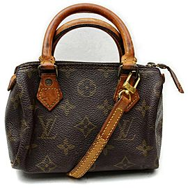 Louis Vuitton Speedy Mini Bandouliere Nano Hl Small with Strap 872494 Brown Coated Canvas Satchel