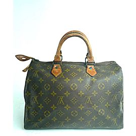 Louis Vuitton Speedy Monogram 30 1lv63 Brown Coated Canvas Satchel