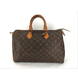 Louis Vuitton Speedy Monogram 35 with Lock and Key Set 221072 Brown Coated Canvas Weekend/Travel Bag