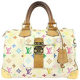 Louis Vuitton White Monogram Multicolor Blanc Speedy 30 Bag 762lvs330