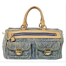 Louis Vuitton Speedy Neo Monogram 199318 Blue Denim Shoulder Bag