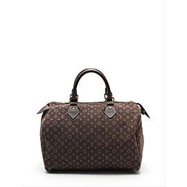 Louis Vuitton Speedy Rare Monogram Ebene 30 8l619 Brown Mini Lin Canvas Satchel