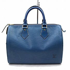Louis Vuitton Speedy Toledo 25 868432 Blue Epi Leather Satchel