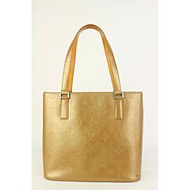 Louis Vuitton Gold Monogram Vernis Mat Stockton Zip Tote Bag 823lv10