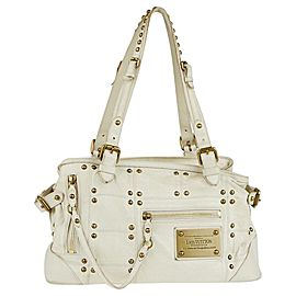 Louis Vuitton Studded Riveting 227296 White Leather Shoulder Bag