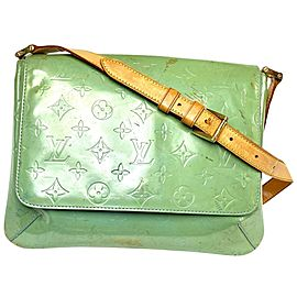 Louis Vuitton Thompson Monogram Vernis 18lva64 Green Patent Leather Shoulder Bag