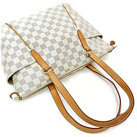 Louis Vuitton Totally 872257 Damier Azur Pm Zip White Coated Canvas Tote
