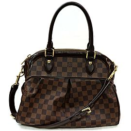 Louis Vuitton Trevi 872078 Damier Ebene Pm 2way Bowler with Strap Brown Coated Canvas Satchel
