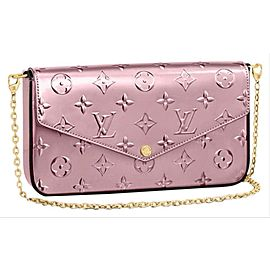 Louis Vuitton 3D Rose Vernis Felicie Flap Crossbody Wallet on Chain Flap Bag 861647