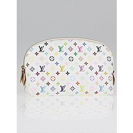 Louis Vuitton Monogram Multicolor White Cosmetic Pouch Make Up Demi Ronde Toiletry 860833