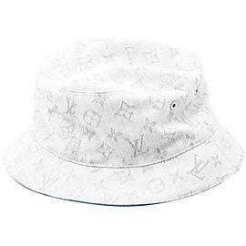 Louis Vuitton Reversible White Blue Denim Monogram Bob Hat M76213 861388