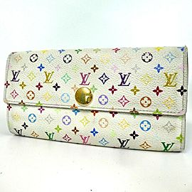 Louis Vuitton Monogram Multicolor Sarah Wallet Long White Tresor Portefeiulle 860157