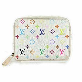 Louis Vuitton White Multicolor Zippy Coin Purse Wallet Compact Zip Around 861198