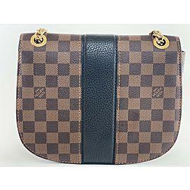 Louis Vuitton Wight Damier Ebene Chain Flap 1la422 Brown Coated Canvas Cross Body Bag