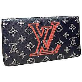 Louis Vuitton Zippy Organizer Upsidedown Monogram Ink Extra Large Wallet 999888 Blue Coated Canvas Clutch
