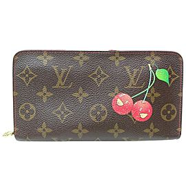 Louis Vuitton Zippy Wallet Monogram Cherry Murakami Cerises Monogram 871514 Brown Coated Canvas Clutch