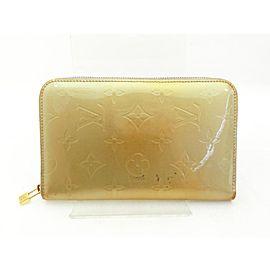 Louis Vuitton Zippy Wallet Silver-Green Zip Around 234756 Green Monogram Vernis Leather Clutch