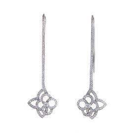 Louis Vuitton 18K White Gold Diamond Flower Dangle Earrings