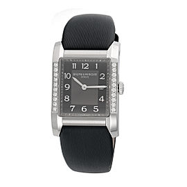 Baume & Mercier Hampton Milleis 10022 Black Dial Leather Quartz 27mm Womens Watch