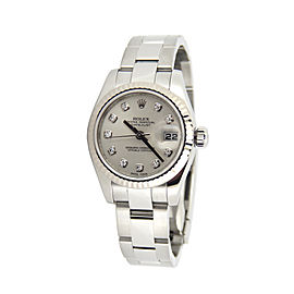 Ladies Rolex Stainless Steel Datejust Silver Diamond 179174