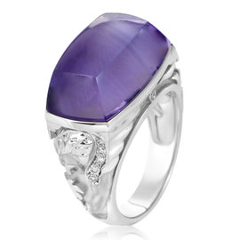 Magerit 18K White Gold Babylon Caramelo Mini Diamond & Amethyst Ring