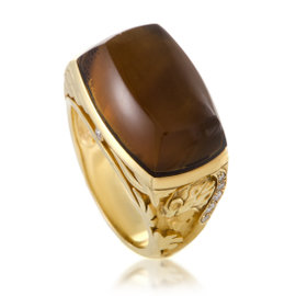 Magerit 18K Yellow Gold with 0.11ct Diamond, 14.60ct Smoky Quartz and Mother of Pearl Ring Size 7