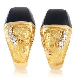Magerit Babylon 18K Yellow Gold Diamond & Onyx Lion Huggie Earrings