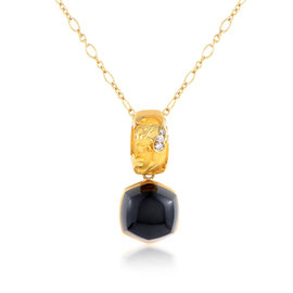 Magerit 18K Yellow Gold Babylon Caramelo Diamond & Onyx Pendant Necklace