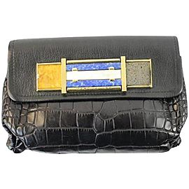 Marc Jacobs Limited Edition 150mja1025 Black Crocodile Skin Leather Clutch