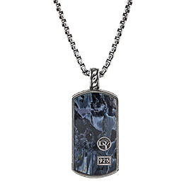 David Yurman Dog Tag with Pietersite in Silver