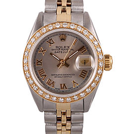 Rolex Datejust Stainless Steel & 18k Yellow Gold and Diamond Salmon Roman Dial 26mm Watch