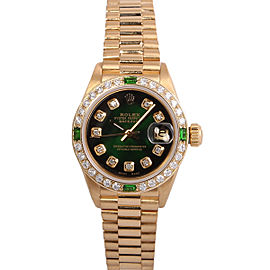 Rolex Datejust 6917 18k Yellow Gold and Diamond Green Vignette Dial 26mm Watch