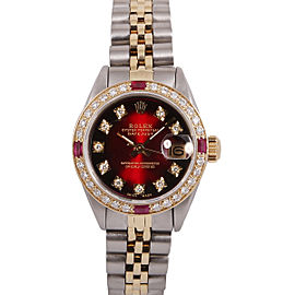 Rolex Datejust Stainless Steel 18k Yellow Gold Ruby and Diamond Red Vignette Dial 26mm Watch