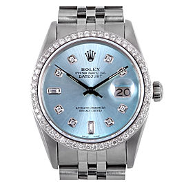 Rolex Datejust 16014 Stainless Steel and Diamond Ice Blue Dial 36mm Watch