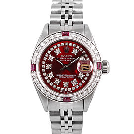 Rolex Datejust Stainless Steel Ruby and Diamond Candy Red Dial 26mm Watch