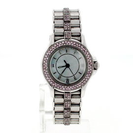Maubossin 18K White Gold Pink Diamonds Womens 26mm Watch