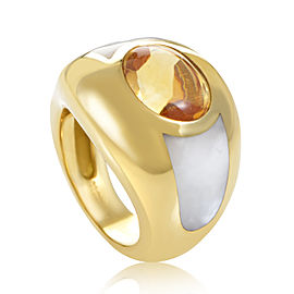 Mauboussin 18K Yellow Gold Citrine & Mother of Pearl Bombe Ring Sz 4.5