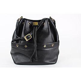 MCM Black Leather Drawstring Bucket Hobo 8mcm1228